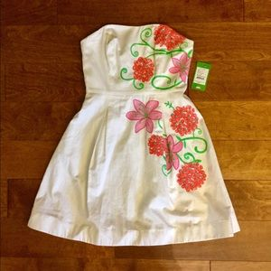 Lilly Pulitzer embroidered strapless dress